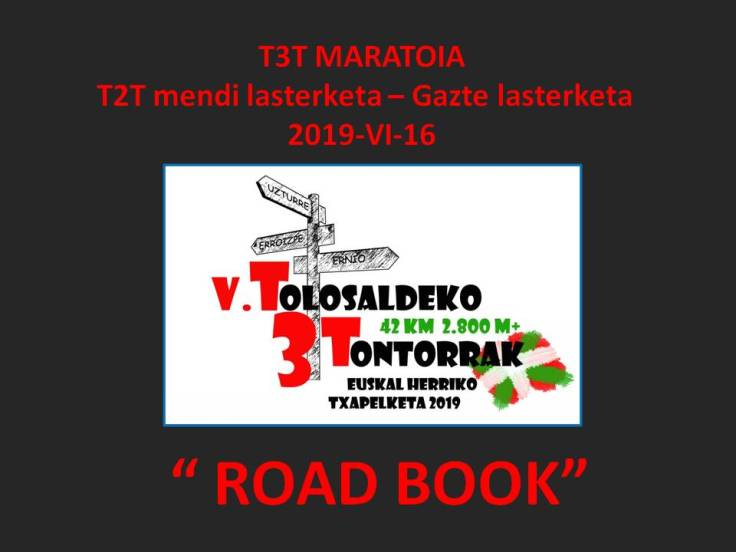 Road book T3T-T2T. 2019
